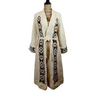 Hand Knit 70's Long Wool Duster Cardigan